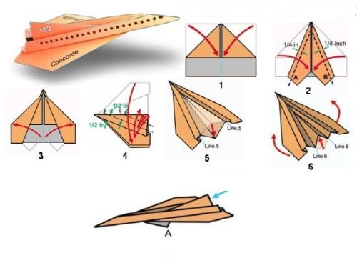 Paper plane build stages